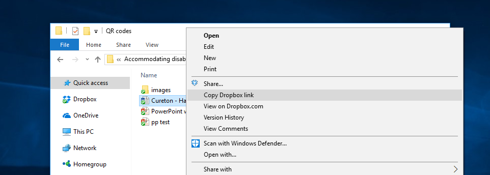 A context menu is open after right-clicking on a file in the Dropbox folder. The option 'Copy Dropbox Link' is highlighted.