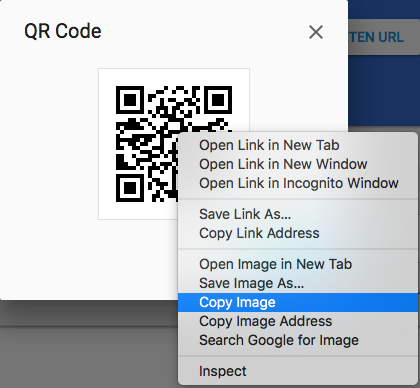 Shows a screenshot of a Mac computer, right-clicking on the QR code, with the 'Copy Image' option highlighted