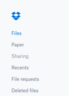 The lefthand menu on the Dropbox website. The 'Sharing' option is highlighted.