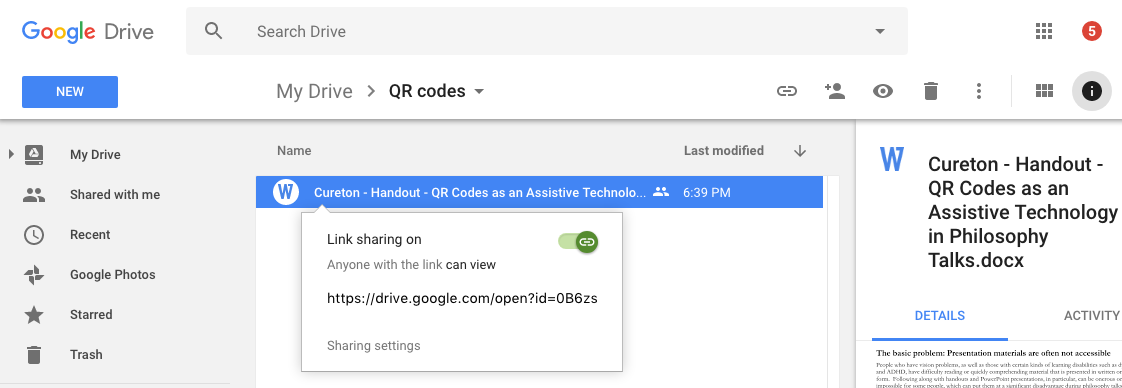 Shows the Google Drive website with a file selected. A popup menu says 'Link sharing is on' with a green toggle.