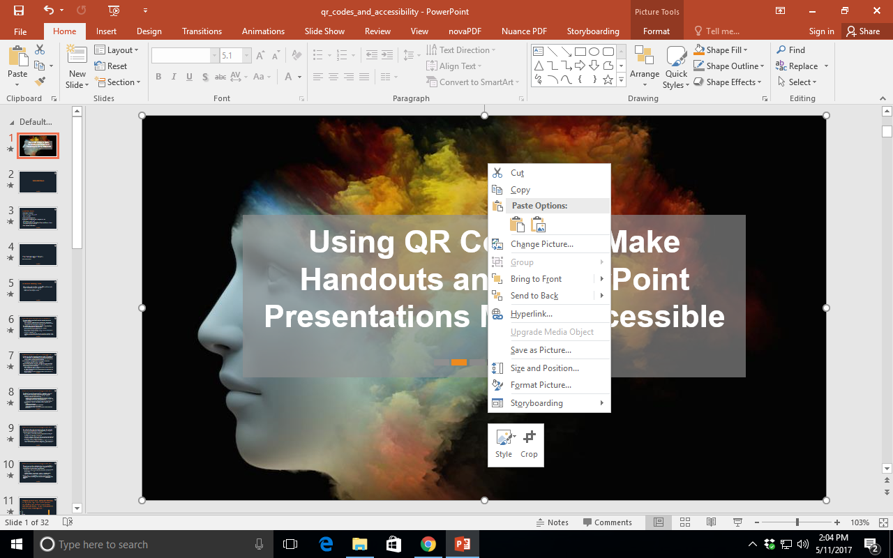 Shows a screenshot of a Windows computer, right-clicking on an open space in a Microsoft PowerPoint .