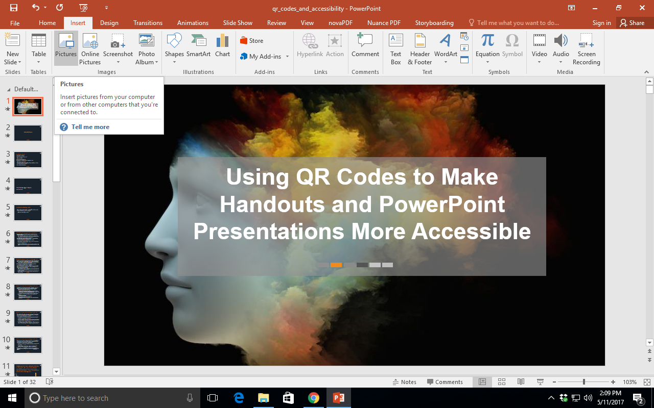 Shows a Windows PowerPoint. The 'Insert' tab  is selected and the mouse is hovering over the 'Picture' icon.