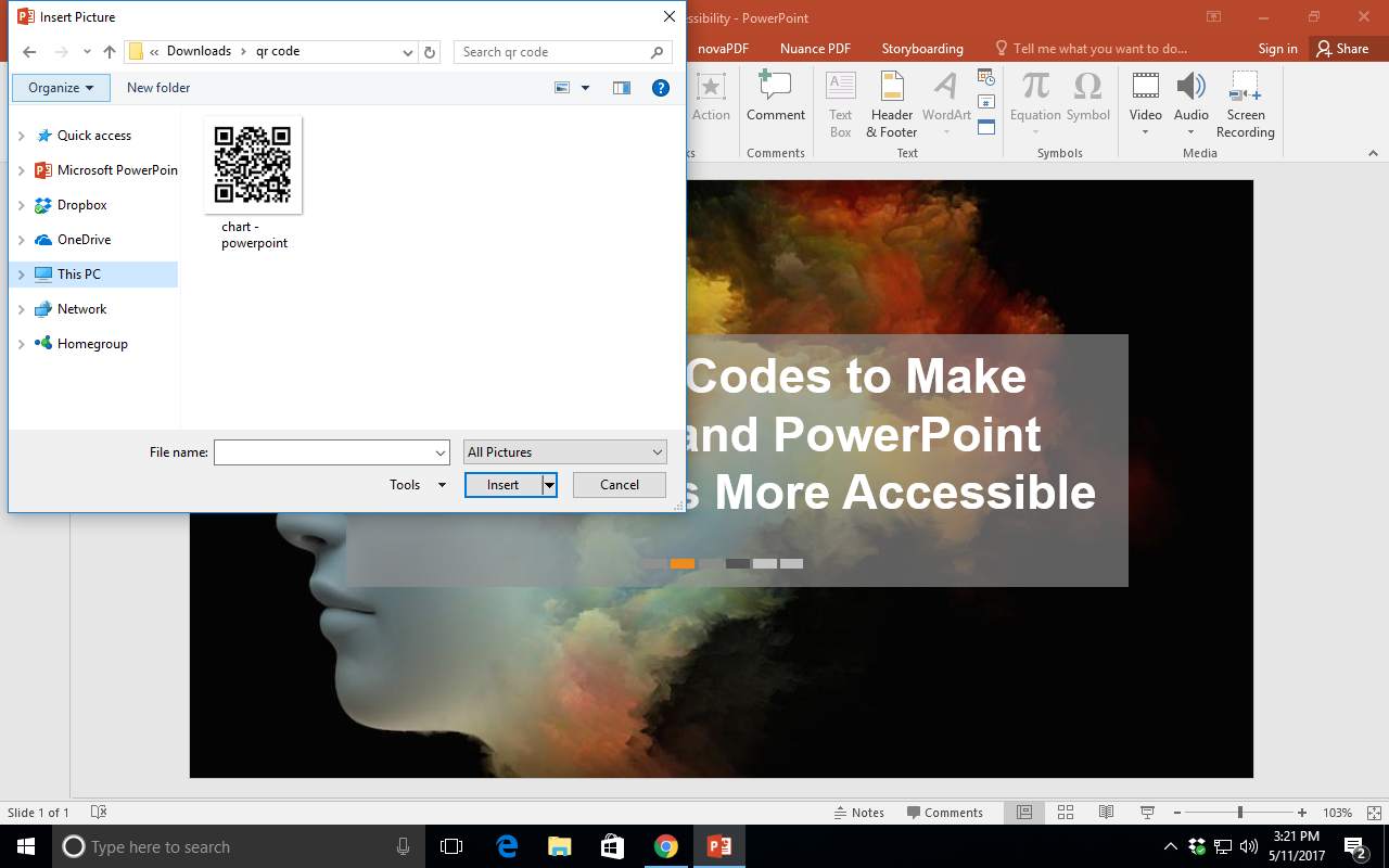 Shows a Windows computer with an open PowerPoint. A file  box is open and the file 'chart - powerpoint.png' is selected.