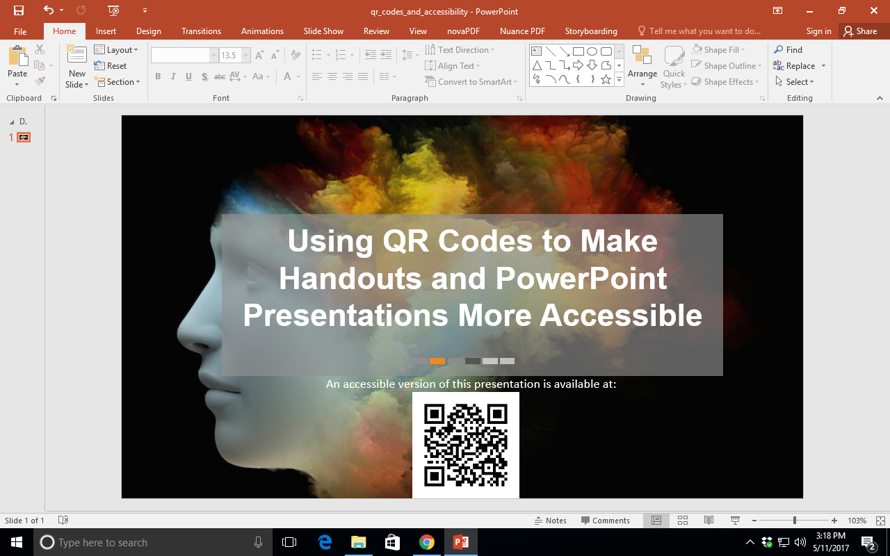 Shows a Windows computer, after the QR code has been pasted into a PowerPoint