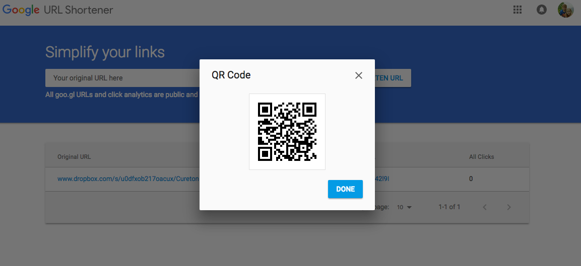 Shows the QR code that you generated