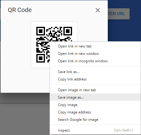 Shows a screenshot of a Windows computer, right-clicking on the QR code, with the 'Save image as' option highlighted
